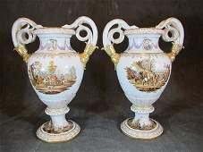 August Rex, Meissen pair of porcelain urns