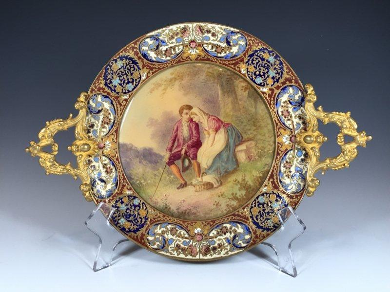 Antique Sevres bronze champleve & porcelain tray