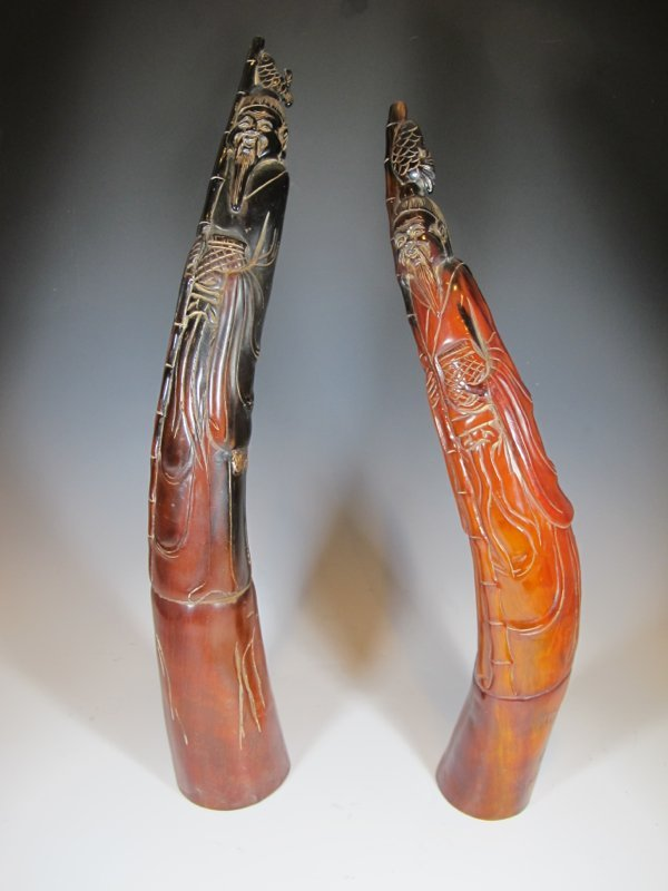 Antique pair of Oriental carved horns