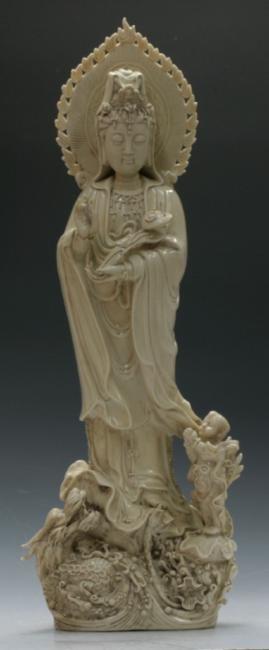 A very large De Hua Guan Yin figure