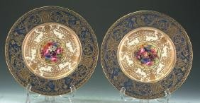 Royal Worcester Plate Gilded And Painted By E.