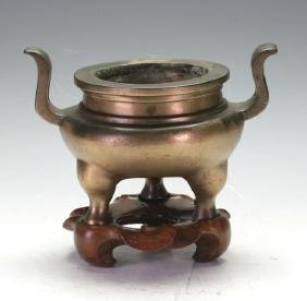 C18th Bronze Censer with wooden stand