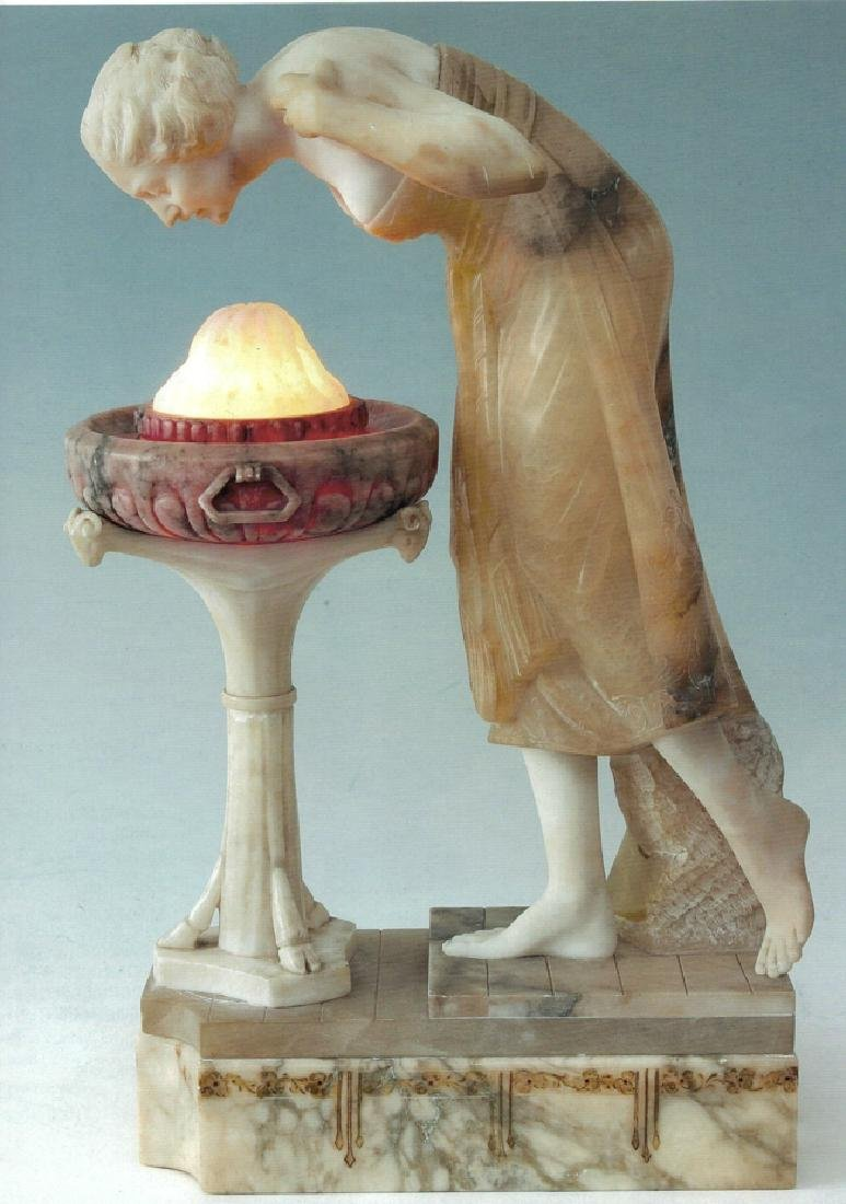 A marble and alabaster figure of young maiden at a