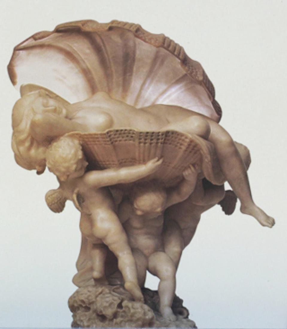 """Perle"", A carved alabaster figural lamp"