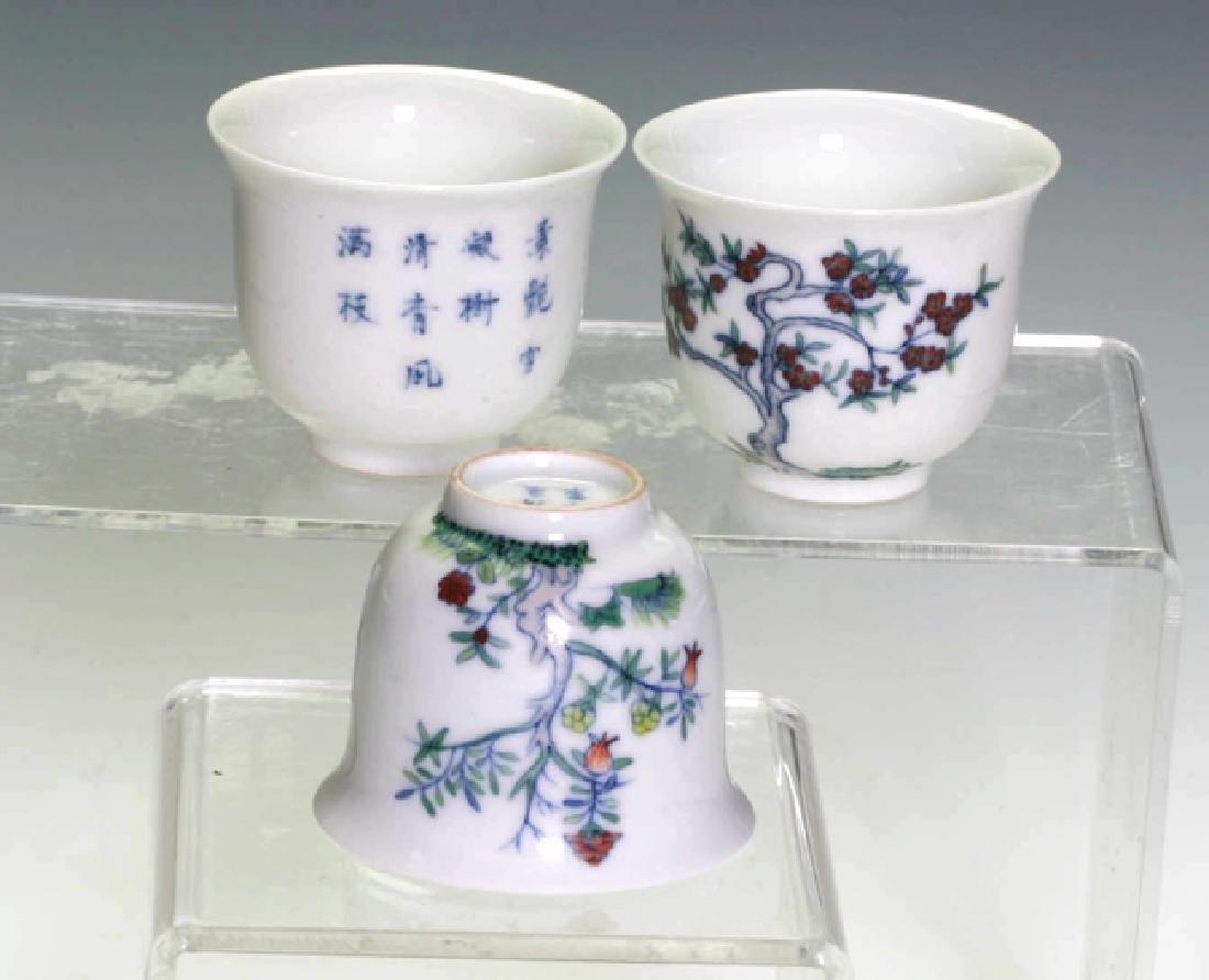 Three Doucai Wine Cups