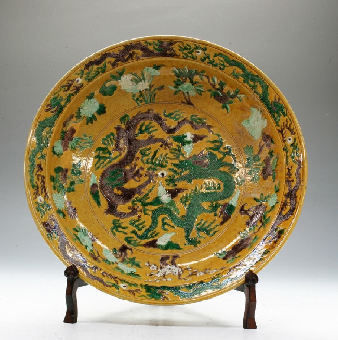 Tri-coloured large Chinese Kang Xi charger