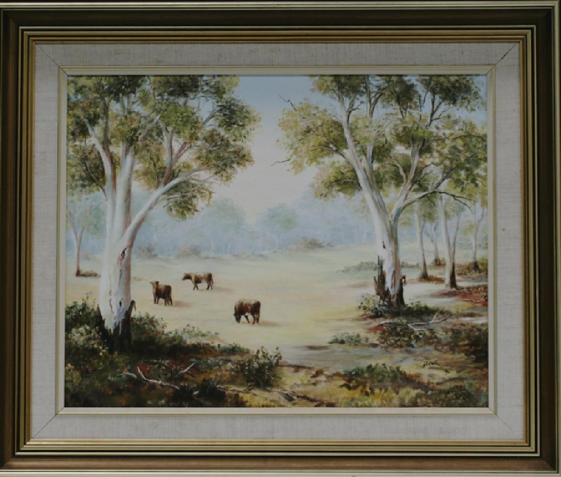 Framed Australian Landscape With Cattle