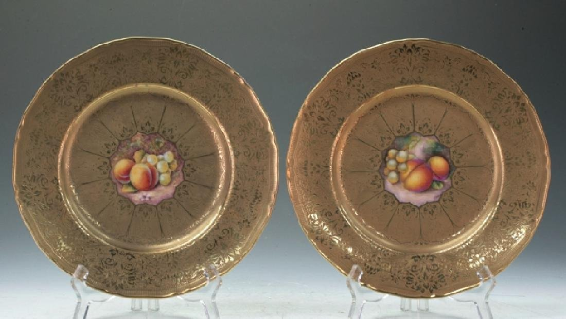 Pair Of Royal Worcester Embossed Gold Fruit Plates