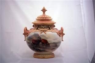 Neat pair of Royal Worcester pot pourris