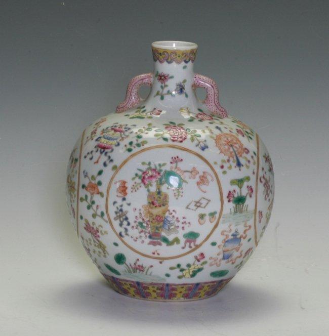 Famille Rose Double Handled Vase