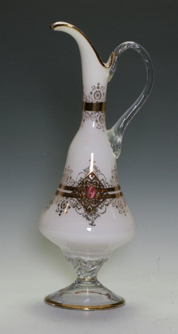 European Style Milk Glass Handled Jar
