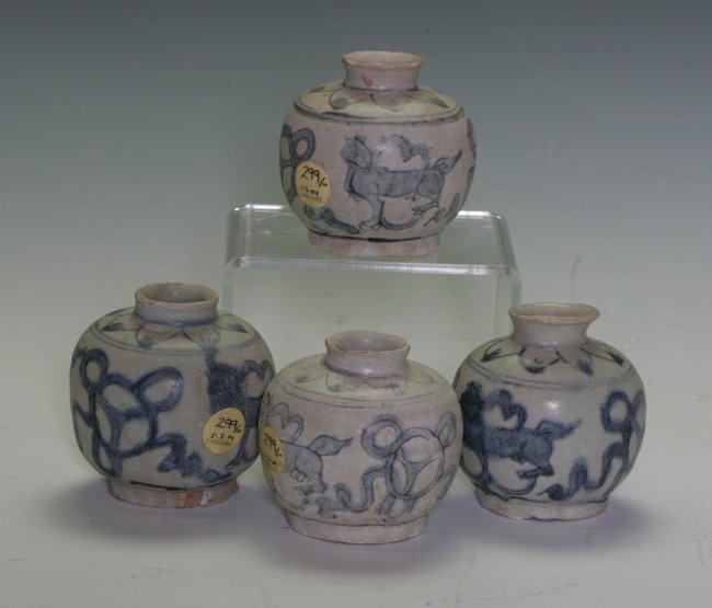 Four Blue and White Small Wine Jars