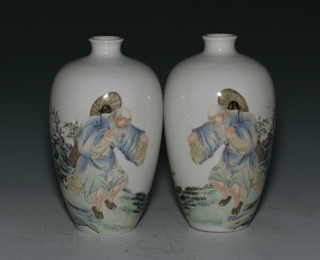 A Pair of Very Fine Porcelain Vases