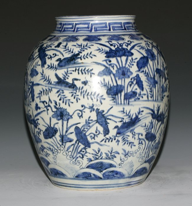 Large Blue and White Jar