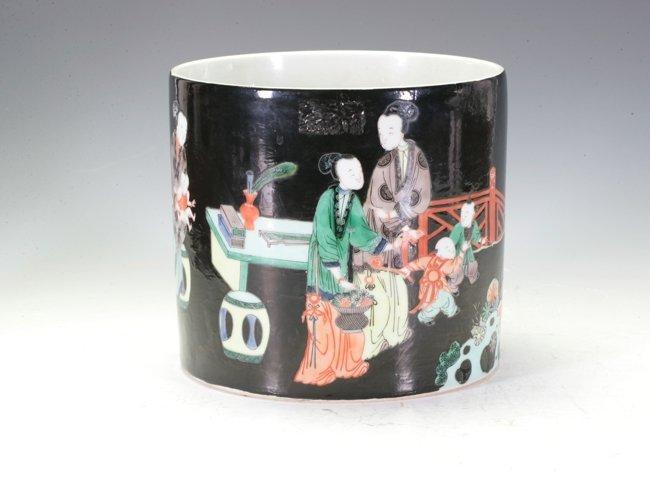 A large porcelain brush pot