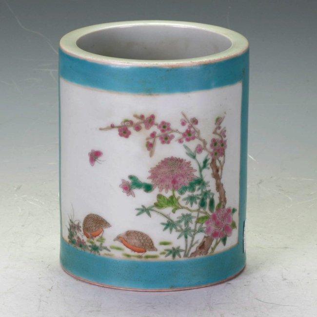 Famille Rose Brush Pot