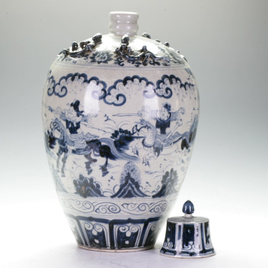 Blue And White Covered Vase - 2