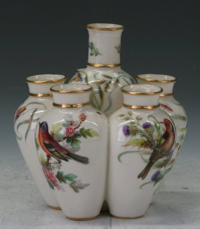Unusual C19Th Royal Worcester 6 Conjoined Vase