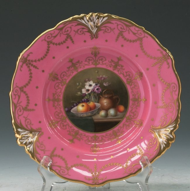 Important Royal Worcester Pink Plate