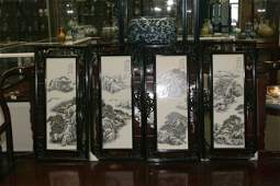 A Set Of Four Tile Paintings
