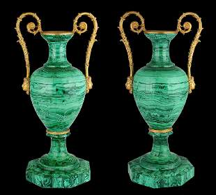 Russian paired vases in amphora style.
