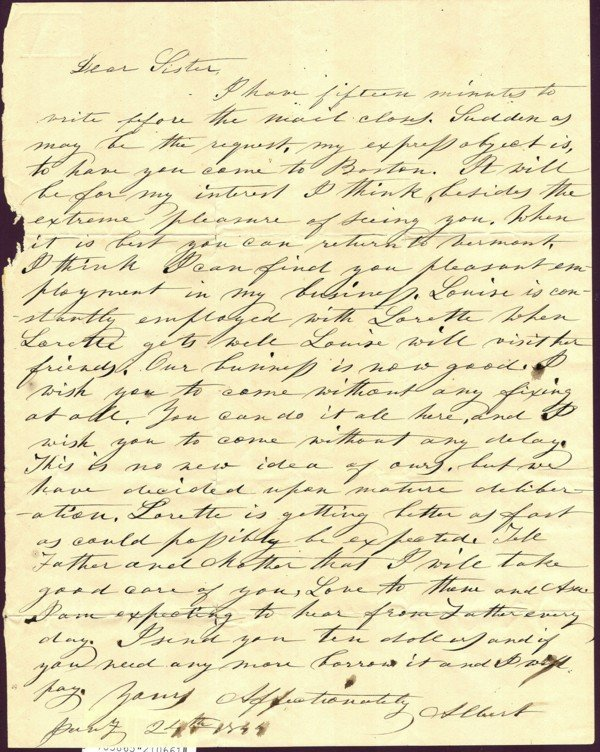 2. Letter Albert Southworth to Nancy Southworth 1844