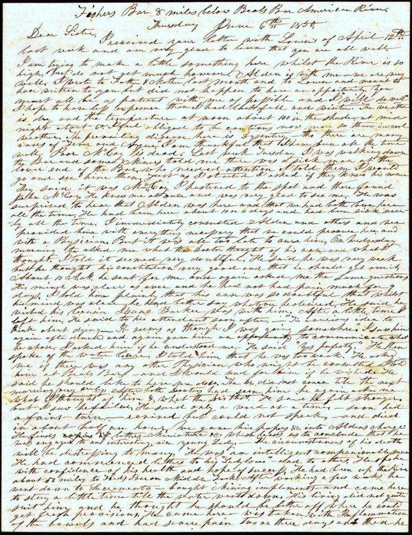 2A Letter Albert Southworth to Nancy Southworth CA 1850