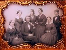 45: Seven Member Family Half Plate Daguerreotype