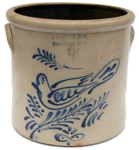 7: F.B. Norton & Sons Stoneware Crock with Dove