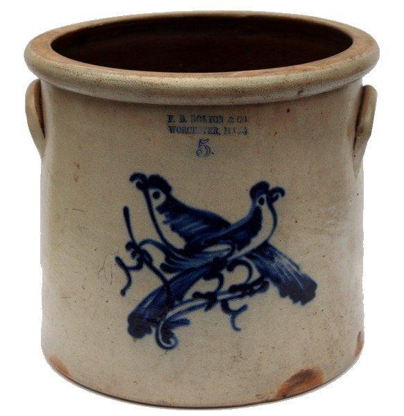 20: F.B. Norton & Co. Stoneware Crock Birds