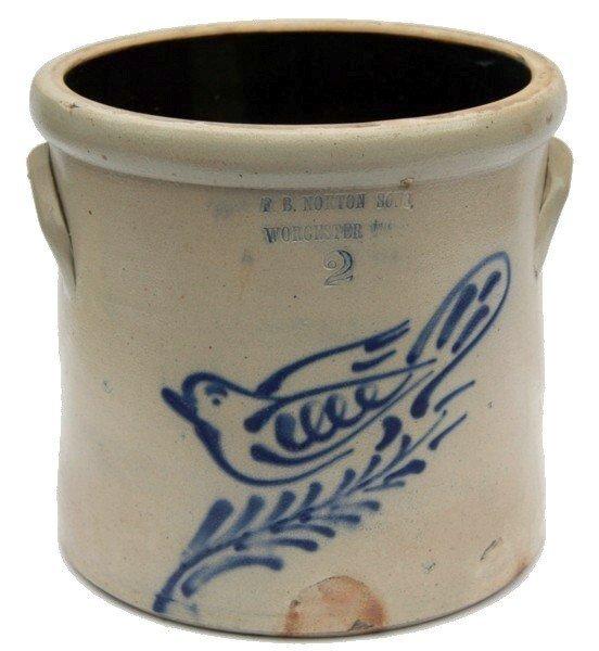 23: F.B. Norton & Sons Stoneware Crock Dove