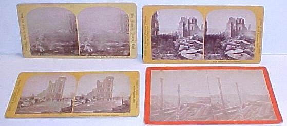 24: 4 Stereoptic cards Boston Fire 1872