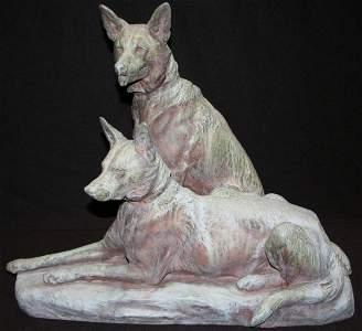 2: Large Louis Riche Bronze German Shepherds
