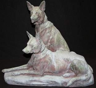 Large Louis Riche Bronze German Shepherds
