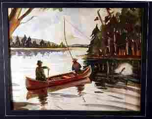 Watercolor of Fishing Scene Gruppe