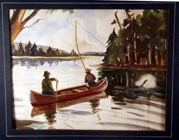 4: Watercolor of Fishing Scene Gruppe