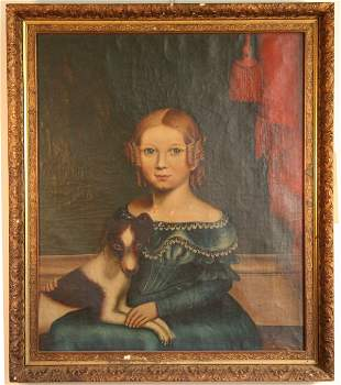Early Portrait of Girl with Dog Trow Family Vermont