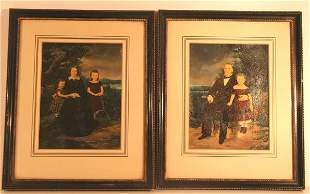Pair Early Family Portraits Dated 1859