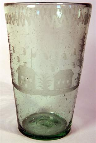 Green Glass Vessel with Schoolhouse