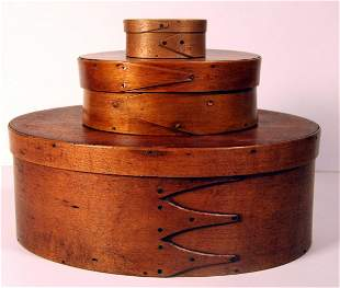 Three Shaker Oval Boxes