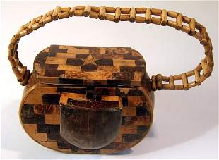 Folk Art Coconut Shell Hawaii Purse
