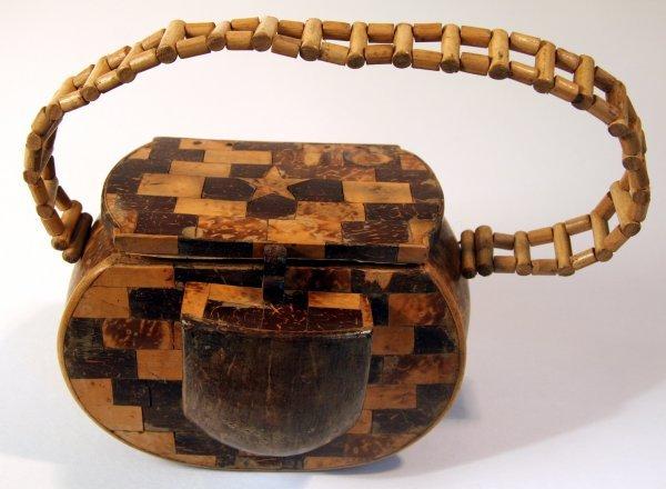 21: Folk Art Coconut Shell Hawaii Purse