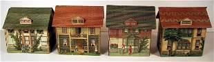 Group Four Paper Lithograph Houses