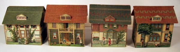 22: Group Four Paper Lithograph Houses