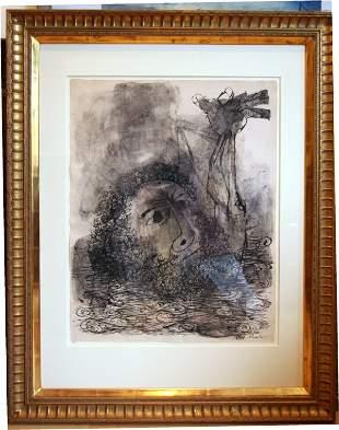 40: Rare Ben Shahn The Drowning Hero Large Watercolor