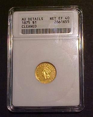 Rare 1875 $1 Gold Coin