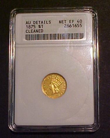 2: Rare 1875 $1 Gold Coin