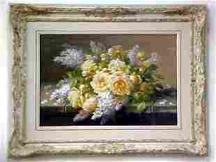 Raoul De Longpre Floral Watercolor
