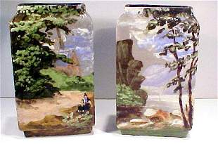 Pair Barbotine Vases