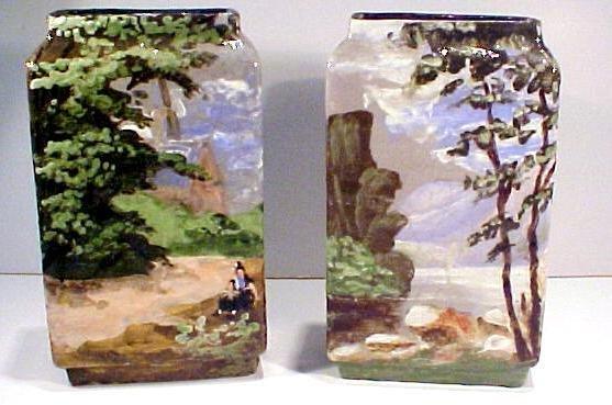 16: Pair Barbotine Vases